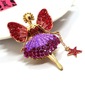Betsey Johnson Red Rose Crystal Ballet Girl Fairy Angel Wing Brooch Pin Gifts