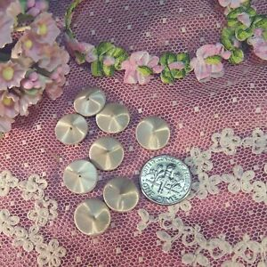 """Antique white tiny small french doll dress shoe silk button beads 1/2"""" 1890 vtg"""