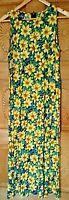 VTG FLORAL MAXI SUN DRESS FESTIVAL HIPPIE BOHO RAYON 1980's SUNFLOWER Size 9/10