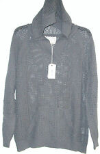 NWT LADIES SHIRT 469 CHARCOAL LOOSE WEAVE SIZE SMALL W/ HOOD V-NECK