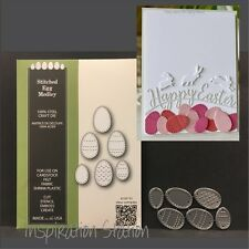 STITCHED EGG MEDLEY metal die set Poppystamps dies 1716 Easter eggs,food