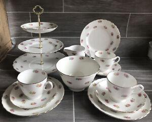 Vintage Fine Bone China Tea Set 15 Pc Pink Rose Bud Tuscan's