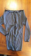 Grey Textured Zip Front Dress Long Sleeve BNWOT free post E24 off shoulder
