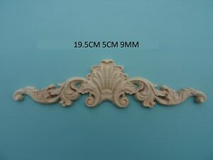 Decorative wooden shell & scroll centre applique furniture moulding onlay  W38
