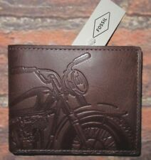 MENS FOSSIL BIFOLD MOTORCYCLE BROWN LEATHER WALLET