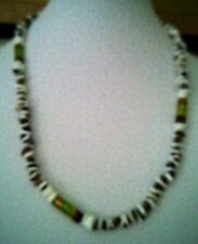 Men's 26 inch Tigereye ,White Pucca Shell & green,gold,brown glass bead Necklace