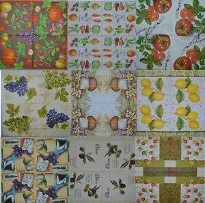 FRUIT VEG PAPER TABLE NAPKINS FOR CRAFT OLIVE PAST VINTAGE DECOUPAGE TEA PARTIES