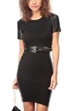 New Womens Black Faux Leather Bodycon Cocktail Dress sizes S M & L