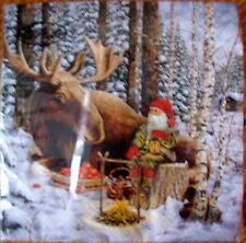 Servietten Papier mit Elch und Wichtel im Winterwald Weihnacht Schweden