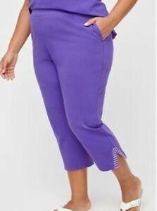 Catherines Purple Suprema Striped-Inset Pockets Capri Pants Plus 2X, 22/24 W