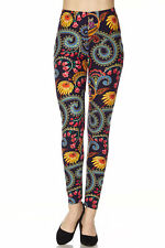 ONE SIZE Leggings TC/265 Buttery Soft Always Brushed Black w/Print