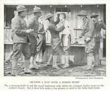1917 U.s. Army Company Barber Shaving A Man With A Draw Knife