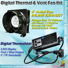 Hydroponics Inline Exhaust Vent Fan Temp Controller Thermostat Cool Heat Thermal