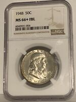 1948 50C NGC MS 66+ FBL (Full Bell Lines) Franklin Half Dollar
