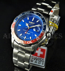Invicta 44mm Pro Diver SWISS MADE GMT Pepsi Bezel Blue Dial Silver SS Watch NEW