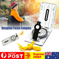 Baseplate Pocket Compass Military Orienteering Hiking Camping Maps Lensatic AU
