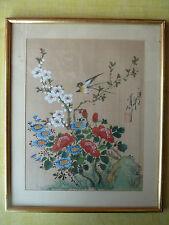 Antiguo marco dorado yeso madera pintura tela pájaros japonesa, francés antigua