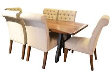 Granville Parota 78 Iron Base Dining Table Set with 6 Chairs