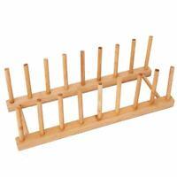 2X(Bamboo Dish Plate Bowl Cup Book Pot Lid Cutting Board Drying Rack Stand B8B9)