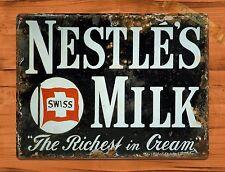 "TIN-UPS TIN SIGN ""Nestle's Milk"" Kitchen Advertising Rustic Wall Decor"