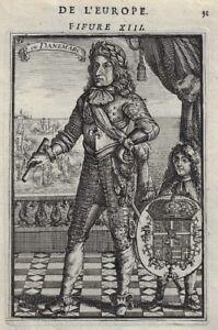 """Mallet Antique Portrait- """"REX DE DANEMARC"""" DANISH KING - Copper Engraving - 1684"""