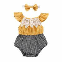 Toddler Baby Girls Lace Flower Romper Jumpsuit Sunsuit Headband Clothes Outfits