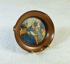 Cendrier en cuivre et fond polychrome à décor de Bretons LECELLIER VILLEDIEU