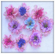 Appliques mixte fleurs double en tissu chiffon rose fleurs tissu