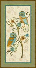 """Who's Who Owls on Tree 100% cotton 44"""" Fabric by the panel (24"""")"""
