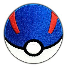 Great Ball Patch Pokemon Go Embroidered Iron On Pikachu Nintendo Cartoon Blue Rd