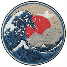 Clothing Patches Iron Sew On Round Badge Appliques Kanagawa Wave Sea Applique