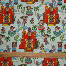 COTTON Fabric  Mexican Villa Church Dancers Floral Folklorico on Blue BTY