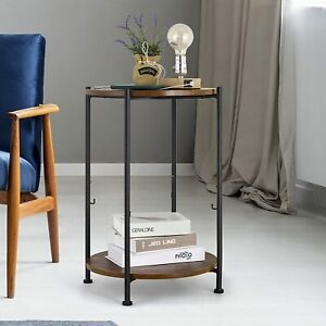 Round Wood End Table with Linen Storage 2-Tier Industrial Sofa Table Night Stand