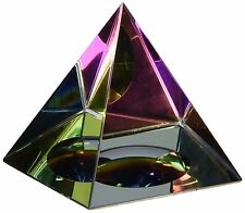 Rainbow Pyramid Crystal Iridescent Glass Room Decor Paperweight Collectible New