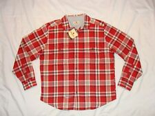 NWT Woolrich Mens FLANNEL Lined Shirt Jacket Size L Red/Black/Tan PLAID NEW