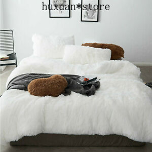 4pcs/set Winter Warm Plush Bedding Set Luxury Shaggy Faux Fur Duvet Cover Double