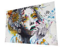 Graffiti Street Urban Girl Stretched Canvas Prints Wall Art Morden Decor Framed
