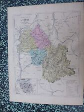 Carte géographique couleur 19°:   L'ISERE  avec le plan de GRENOBLE