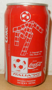 1990 COCA COLA World Cup Soccer Italy can from HOLLAND (33cl)