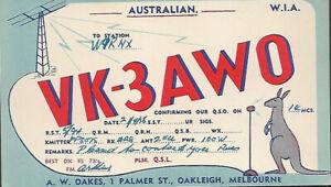 Oakleigh, Melbourne Australia VK-3AW0 Radio Calling Card Ham Radio Postcard