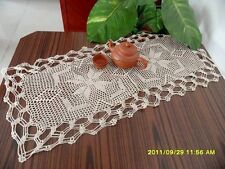 "16.9""x36.6""Vintage Crochet Cotton Table runner ecru item no 1254"