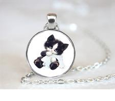 Kitten W PENDANT NECKLACE Chain Glass Tibet Silver Jewellery