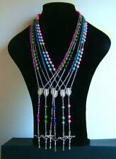 SILVER ROSARY Style NECKLACE Cross BLACK FUCHSIA PINK OLIVE GREEN NAVY BLUE UK