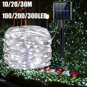 Bright white LED Solar String Lights Waterproof Copper Wire Fairy Garden Outdoor