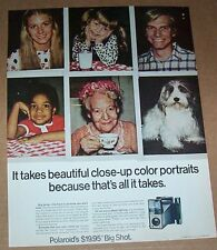 1971 print ad - Polaroid Big Shot Camera cute shaggy dog Vintage Advertising