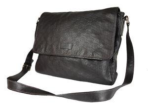 Gucci Guccissima Leather Dark Brown Crossbody Messenger Bag GS2500