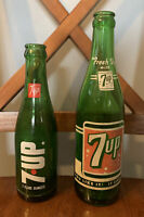 "2 Vintage 7Up Green Glass Bottles Lot - ""Fresh Up With Seven Up"" 12 & 7 Oz"