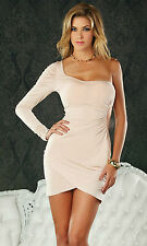 SEXY PARTY DRESS STRETCHY JERSEY ASYMMETRIC ONE SLEEVE CHAMPAGNE NUDE FORPLAY ML