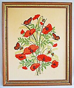Floral Vintage Needlework Flowers Poppies Butterflies Botanical Nature Framed