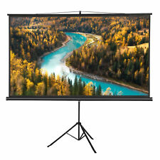 """Portable 100"""" Projector 16:9 Projection Screen Tripod Pull-Up Matte Black"""